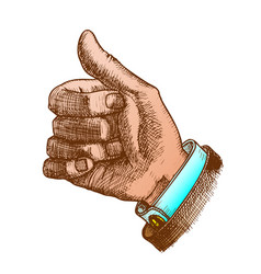 color male hand make gesture thumb finger up vector image