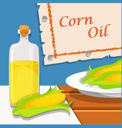 corn oil glass bottle of vegetable oil and vector image