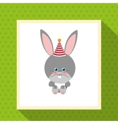 Cute festive rabbit or bunny animal with party hat vector