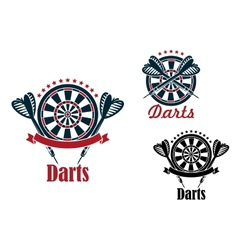 Darts sport game emblems and symbols vector