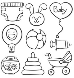 doodle of baby on white background vector image