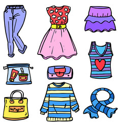 Doodle of women clothes set object vector