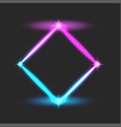 energy rhombus frame electric effect blue pink vector image