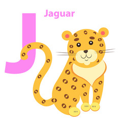 English nursery card with lilac character j jaguar vector