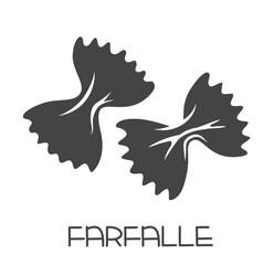 Farfalle pasta glyph icon vector