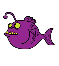 Fish monster cartoon vector