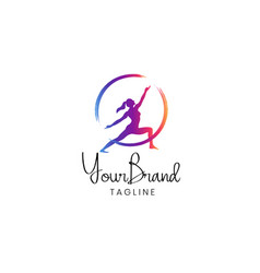 fitness women logo template vector image