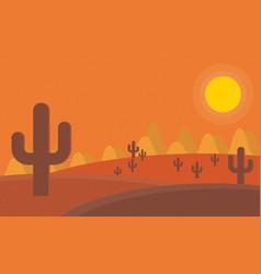 Flat cartoon desert sunset landscape background vector