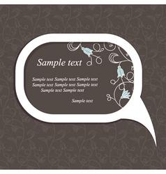floral speech bubble dark2 vector image vector image