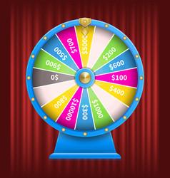 Fortune wheel with sum winning money casino vector