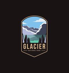 glacier national park emblem patch logo vector image