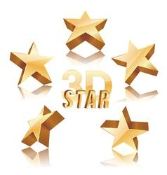 Golden 3d stars vector