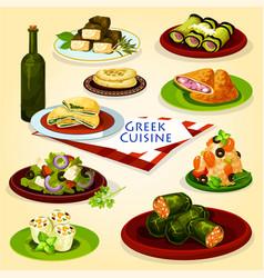 Greek cuisine healthy lunch cartoon poster vector