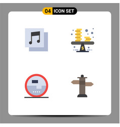 Group 4 modern flat icons set for albums vector