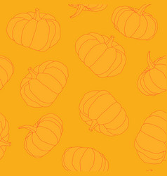 hand drawn orange pumpkin seamless pattern vector image
