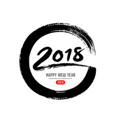 happy new year 2018 message paint brush vector image