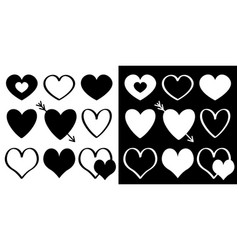 heart silhouette icon set different shape arrow vector image