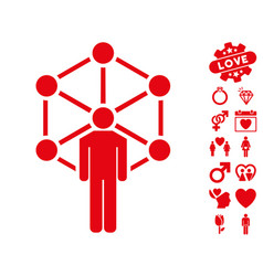 human network icon with dating bonus vector image