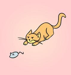 Hunting cat cartoon vector