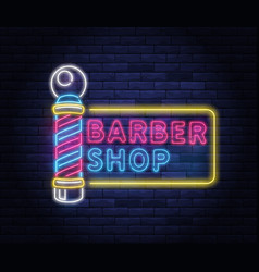 Illuminated neon barber shop design vector