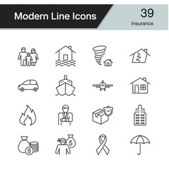 insurance icons modern line design set 39 for vector image