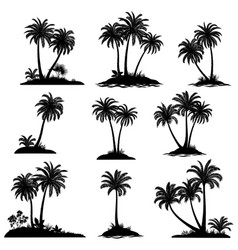Islands with palm trees silhouette vector