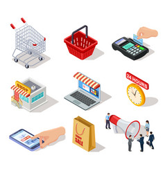 isometric shopping icons ecommerce store online vector image