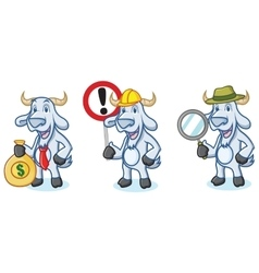 Light Blue Goat Mascot with money vector image