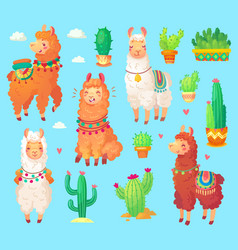 Mexican cartoon cute alpaca lama with white wool vector