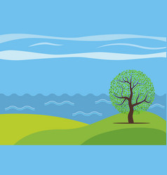 Panoramic cartoon landscape vector