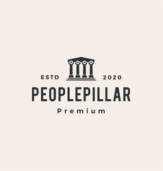 people pillar hipster vintage logo icon vector image