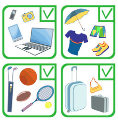 Personal belongings things items goods vector