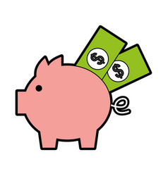 Piggy savings with bills vector