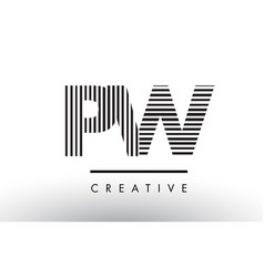 Pw p w black and white lines letter logo design vector