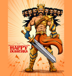 ravana with ten heads for dussehra vector image