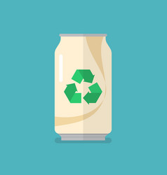 Recycle can flat icon vector