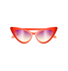 Red fashion women retro sunglasses with violet vector