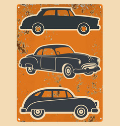 Retro cars stickers set vintage auto vector