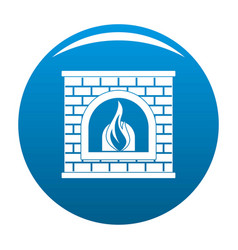 retro fireplace icon blue vector image