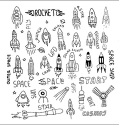 Rocket set hand drawn vector
