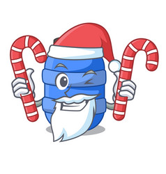 Santa with candy plastic barrel container for fish vector