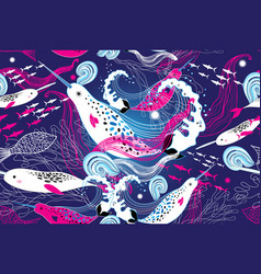 seamless marine pattern with narwhal whales vector image