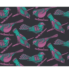 Seamless pattern with hand drawn ornate birds jn vector