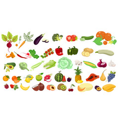 Set fruits and vegetables isolated on a white vector