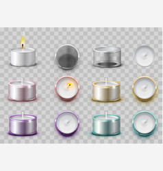 set modern wax aromatic candle in round metal vector image