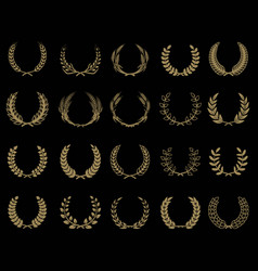 Set of wreaths icons in golden style design vector