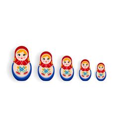 set russian nesting dolls or russia souvenir vector image