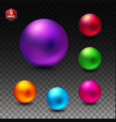 Six colorful spheres with a shiny matte finish vector