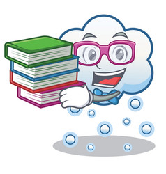 Student with book snow cloud character cartoon vector