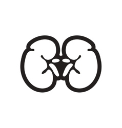 Stylish black and white icon human kidney vector